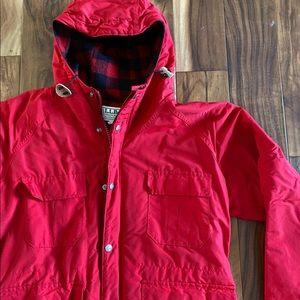 L.L. Bean Baxter State Red plaid Parka Coat Large